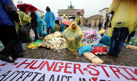 Refugees go on hunger strike in Berlin