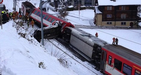 Mountain train collides with van in Valais