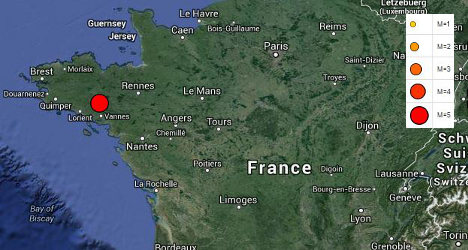 Brittany shaken by 4.5 magnitude earthquake