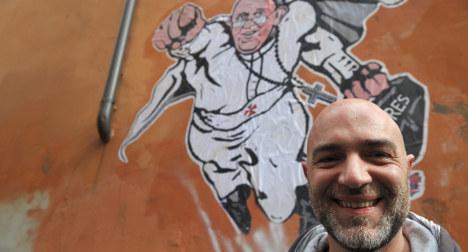 The artist who made Pope Francis a superhero