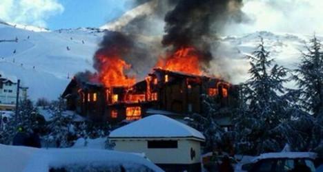 VIDEO: Luxury ski resort burns to the ground