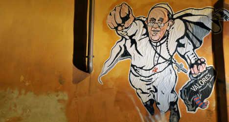 Vatican tweets graffiti of hero Pope Francis