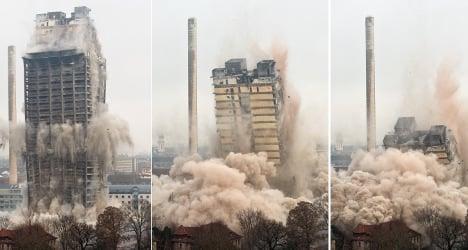 Tower block demolished, clean-up begins
