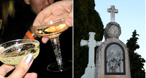 Widow fined for drink at husband's graveside