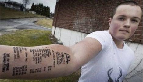 Norwegian tattoos McDonald's bill on arm