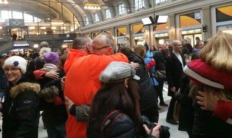 Flash mobs hug it out across Sweden