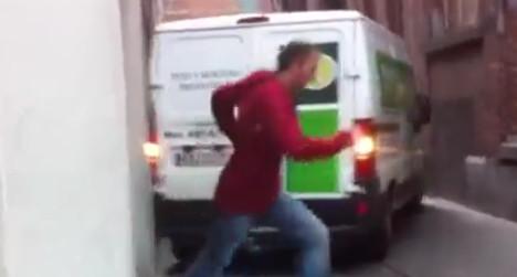 VIDEO: Spanish driver causes havoc in Belgium
