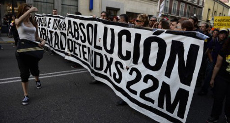 Protesters march against police violence in Spain