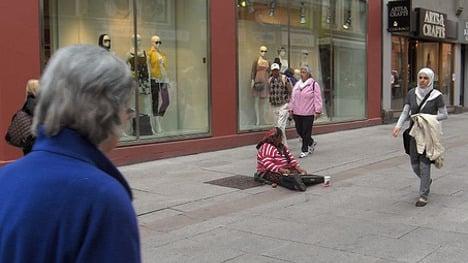 Man held for Stockholm beggar assault