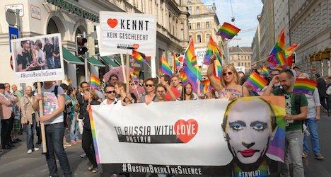 Anti-Putin rainbow parade embraces Vienna