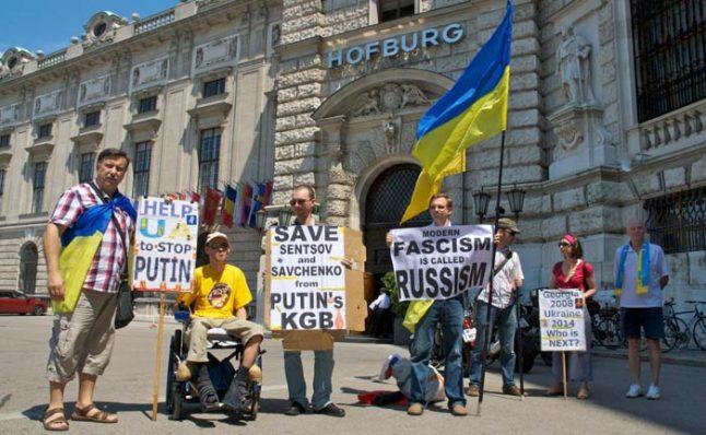 The Ukrainians protesting in Vienna