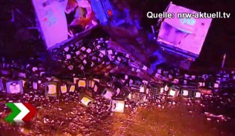 Thousands of litres of beer close motorway