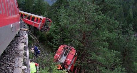 Landslide derails Swiss passenger train