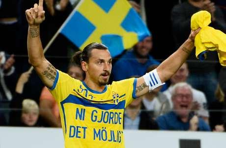 Zlatan celebrates goal record for Sweden