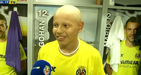 Spanish teen with cancer lives out football dream