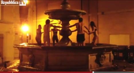Semi-clad tourists dance in priceless fountain
