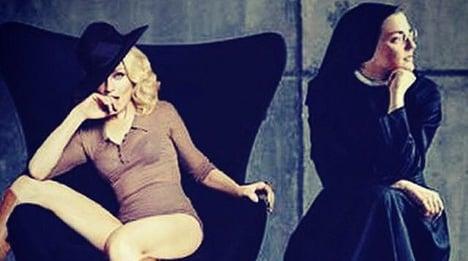 Madonna in sisterhood pledge with singing nun