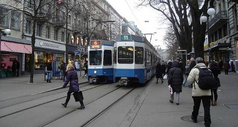 Tram derails on ice in wintry Zurich Oerlikon