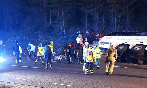 40 hurt in Sweden as Denmark-bound bus flips
