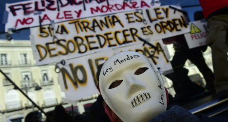 Protesters slam Spain's tough new security law