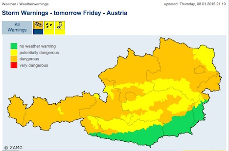 Dangerous storms over Austria from Thursday