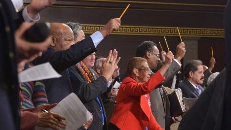 US Congress members wave pencils for Paris