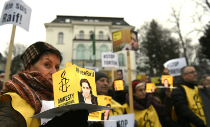 Austrian protesters support flogged blogger