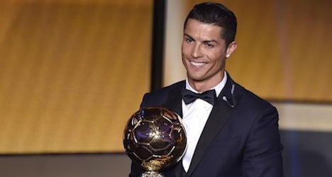 Ronaldo wins third Ballon d'Or in Zurich