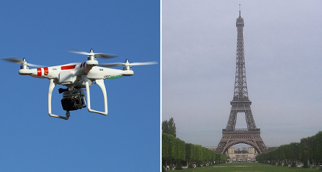 Who is flying drones over Paris landmarks?
