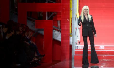 Versace in thigh-high thrills at Milan fashion