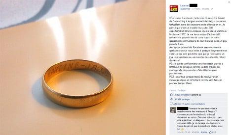 Wedding ring returned after Facebook share-fest