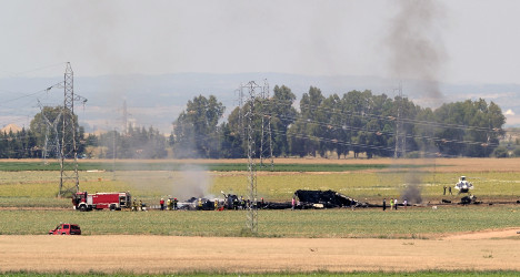 Military plane crashes in Spain, at least four dead