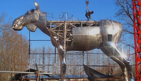 World's biggest elk statue arrives in Oslo