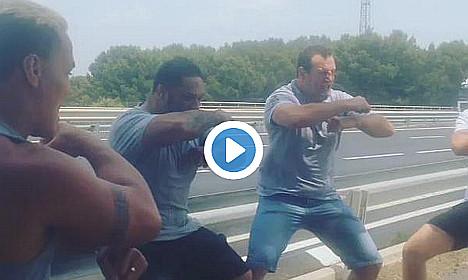 Grieving teammates do haka at French roadside