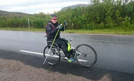 Norway man rides north to south in wheelchair