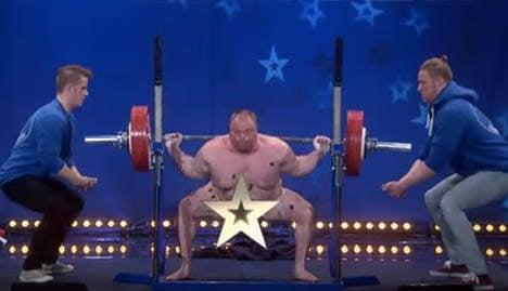 Naked weightlifter shocks talent show hosts