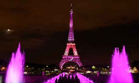Eiffel Tower turns pink for breast cancer