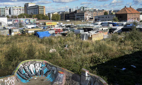Police act against huge Swedish shanty camp