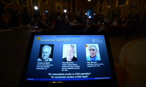 Trio wins Nobel Prize in Chemistry for DNA work