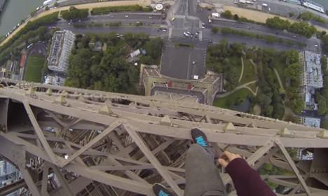 Video: British free-runner scales Eiffel Tower