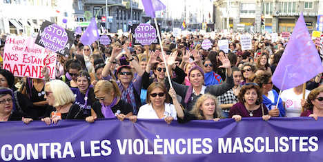 Thousands fill Madrid streets to protest against domestic violence