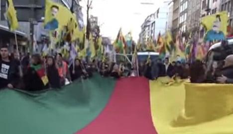 German Kurds protest Turkish crackdown