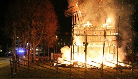 Sweden's Christmas goat set ablaze once again