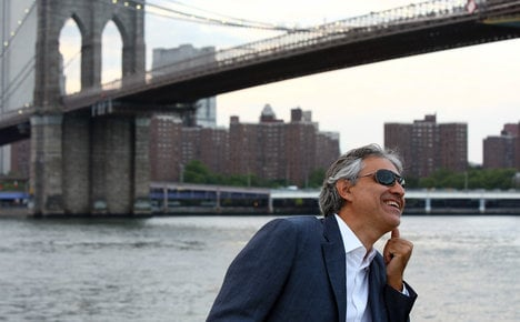 Italy's Bocelli busks Big Apple to help homeless
