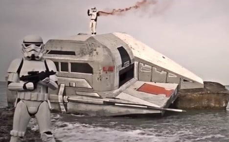 VIDEO: Star Wars space ship crash lands on Normandy beach