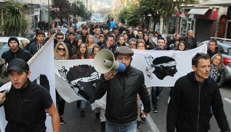 Hundreds march after protests in Corsica