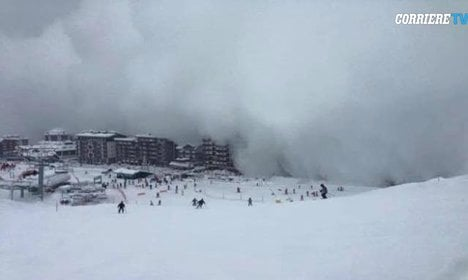 Close call! Avalanche cloud engulfs Italy town
