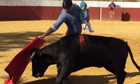 Olé? Bullfighter takes five-month-old baby into the ring