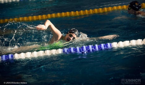 Refugee swimmer eyes Rio Olympics from Berlin