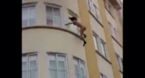 Terrifying: Woman leaps from burning building and survives